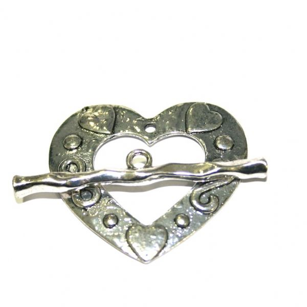 1 x Antique sliver heart toggle clasp 44x40mm - S.F04 - WC049 - 2502079